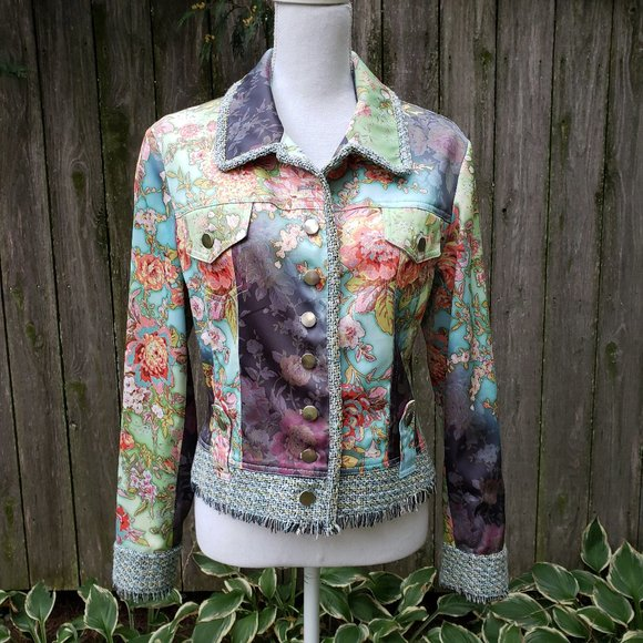 BOHO CHIC art to wear Floral satin couture Jacket
